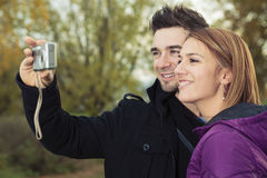 Young happy couple in autumn season Royalty Free Stock Photography