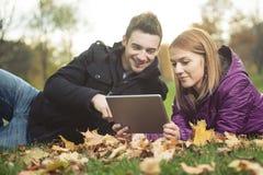 Young happy couple in autumn season Stock Photo