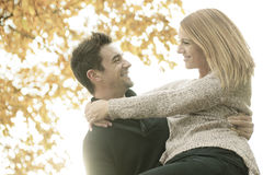 Young happy couple in autumn season Stock Images