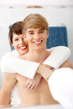 Young happy couple at bathroom. Royalty Free Stock Photography
