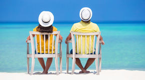Young happy couple during beach tropical vacation Stock Image