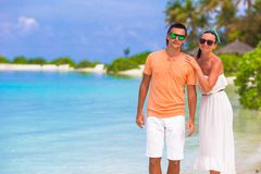 Young happy couple during beach tropical vacation Royalty Free Stock Image