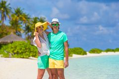Young happy couple during beach tropical vacation Stock Photo