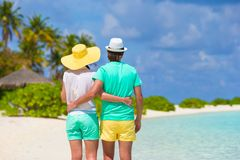 Young happy couple during beach tropical vacation Stock Images