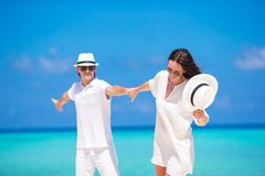 Young happy couple during beach tropical vacation Royalty Free Stock Photography