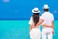 Young happy couple during beach tropical vacation Royalty Free Stock Photos