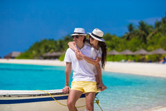 Young happy couple during beach vacation Royalty Free Stock Photography