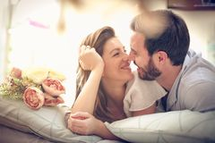 Sweet love. Face to face. stock images