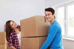 Happy couple in new home Stock Photos