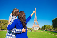 Young happy couple on the Champ de Mars in Paris Stock Photo