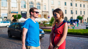 Young happy couple in city. Stock Photo