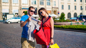 Young happy couple in city. Royalty Free Stock Photography