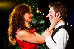 Young happy couple dancing at celebration Stock Images