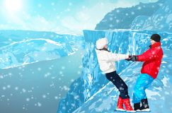 Happy couple in mountains. Young happy couple dancing and having fun at winter in high mountains Royalty Free Stock Photos