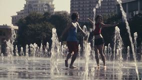 Free Young Happy Couple Dancing In The Fountain Royalty Free Stock Image - 98741946
