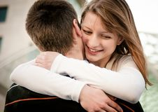 Young happy couple in embracement Stock Photo