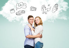 Young happy couple. Young happy family couple dreaming of future wealthy life Royalty Free Stock Photos