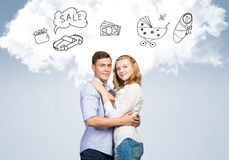 Young happy couple. Young happy family couple dreaming of future wealthy life Stock Photo