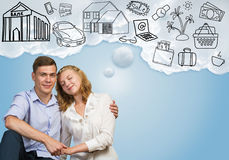 Young happy couple. Young happy family couple dreaming of future wealthy life Stock Image