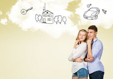 Young happy couple. Young happy family couple dreaming of future wealthy life Stock Photos