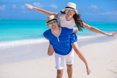 Young happy couple have fun on Caribbean vacation Stock Image