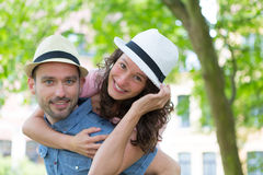 Young happy couple having fun on holidays Stock Image
