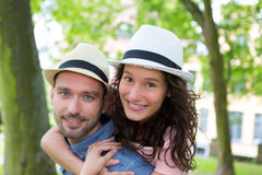Young happy couple having fun on holidays Stock Photography