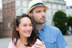 Young happy couple having fun on holidays Royalty Free Stock Photography