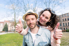 Young happy couple having fun on holidays Royalty Free Stock Photo