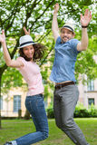 Young happy couple having fun at the park Royalty Free Stock Photography