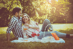 Young happy couple having picnic in the meadow. Royalty Free Stock Photography
