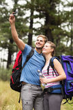 Young happy couple hiking in the nature Stock Photo