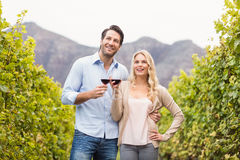 Young happy couple holding a glass of wine and looking in the distance. In the grape fields Royalty Free Stock Photography