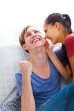Young happy couple at home Royalty Free Stock Photography
