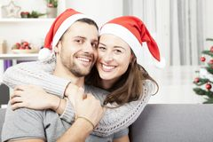 Young Happy Couple Hug And Love Christmas Royalty Free Stock Images