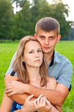 Young happy couple hugging on the outdoors Stock Photo