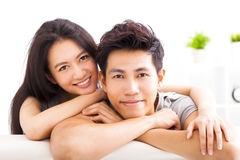 Young happy couple hugging and smiling Royalty Free Stock Photos