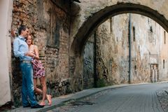 Young happy couple hugging on the street. royalty free stock photo