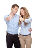 Young happy couple. Isolated on white Stock Photography