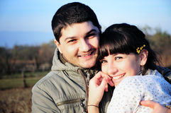 Young happy couple in love. Close-up photo of a young happy couple in love Stock Images