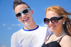 Smiling teenage couple Stock Photography
