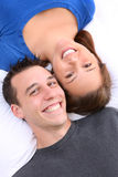Young Happy Couple in Love. A young happy man and woman couple in love isolated stock photos