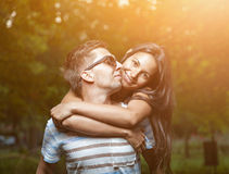 Young happy couple in love having a goot time Stock Images