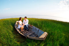 Young happy couple in love. Outdoors portrait Royalty Free Stock Photography