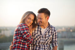 Young happy couple in love, outdoors stock images