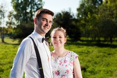 Young happy couple in love portrait in summer park Stock Images