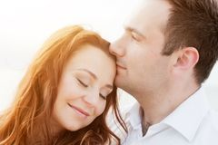 Young happy couple in love. Romantic moment Royalty Free Stock Image