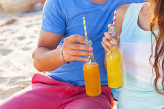 Young happy couple in love at the summer picnic Royalty Free Stock Photo