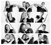 Young happy couple making heart shape with arms royalty free stock photography