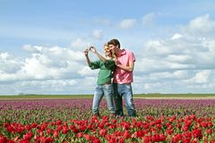 Young happy couple making a picture. In the tulip fields from the Netherlands Stock Images